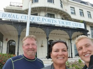 Woods family in front of yacht club in Dover, England